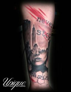 """A City in a girl"" Trash polka style Realistic tattoo"