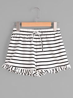 SheIn offers Drawstring Waist Frill Hem Striped Jersey Shorts & more to fit your fashionable needs. Look Con Short, Summer Outfits, Cute Outfits, Striped Jersey, Blouse And Skirt, Jersey Shorts, Summer Looks, Dress Me Up, Stylish Clothes