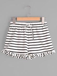 Shop Drawstring Waist Frill Hem Striped Jersey Shorts online. SheIn offers Drawstring Waist Frill Hem Striped Jersey Shorts & more to fit your fashionable needs.