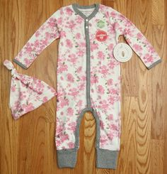 Burt's Bees Baby Girl Coverall & Knot Top Hat Set ~ White, Pink & Gray ~ Floral  #BurtsBeesBaby #BabyGirl #Coverall