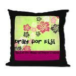 Pray for Fiji Hibiscus Suede Pillow