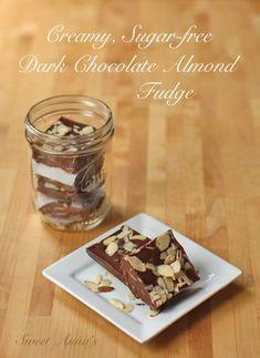 creamy sugar-free dark chocolate almond fudge