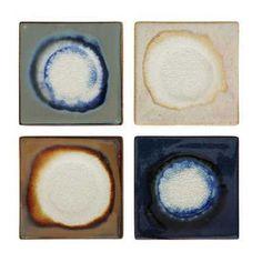 Stoneware Crackle Glass Glazed Coasters