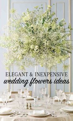 Elegant and Inexpensive Wedding Flower Ideas | Martha Stewart Weddings - Miniature daisies, doily-shaped Queen Anne's lace, and baby's breath come together in a beautiful balancing act atop a tall, graceful candlestick.