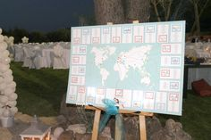 Tableau de Mariage  Travel Theme, with World map and illustrated cities  www.laughlau.com