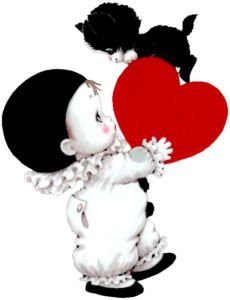 Cute Mime and Kitten with Heart PNG Picture Rolling Stones Logo, Baby Animal Drawings, Valentines Day Clipart, Gothic Fantasy Art, Art Costume, Valentine Decorations, Illustrations, Digital Stamps, Kids Cards
