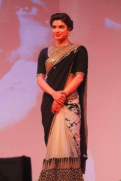 Royalty: @PriyankaChopra in Black & White w/ Gold #Saree, via @AdaahCouture Chandigarh https://www.facebook.com/AdaahCouture