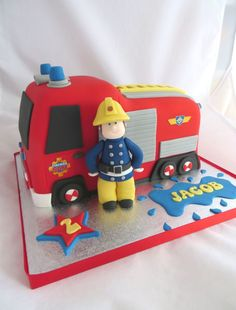 Fireman Sam cake by Caroline Shaw, Huddersfield (Best Ever Frosting) Fireman Birthday, Fireman Party, Fireman Sam Cake, Fire Engine Cake, 3rd Birthday Cakes, 4th Birthday, Birthday Ideas, Fire Fighter Cake, Birthday Cakes