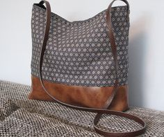 Crossbody bag canvas and vegan leather slouchy by FidelioBags