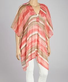 Take a look at the CLUB Z Coral & White Stripe Beaded Cape-Sleeve Tunic - Plus on #zulily today!