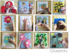Love the treasure chest, the mittens and the puppets on sticks- use the finger puppets