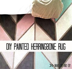 painted herringbone rug, www.makedoanddiy.com