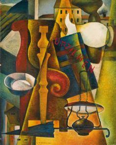 Roberto Marcello Baldessari  1894-1965  UMZIEHEN (TRASLOCO)  SIGNED, OIL ON CARDBOARD. EXECUTED IN 1923 CIRCA