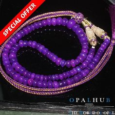 "83 Cts 11"" Purple Natural Ethiopian Welo Fire Opal Rondelle Beads Necklace 32"