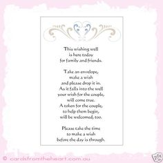 Wedding Wishing Well Card for Reception LARGE-heart NEW