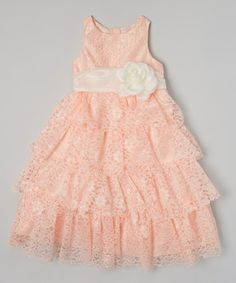 Love this Coral Lace Tiered Dress - Toddler & Girls by Kidz WinC on #zulily! #zulilyfinds
