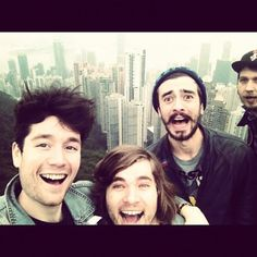 Bastille <3 precious i love the random guy photobombing in the background....unless thats Will and he looks really different...
