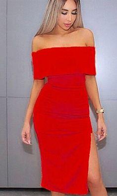 On A Mission Red Short Sleeve Off The Shoulder Foldover Bodycon Bandage Side Slit Midi Dress