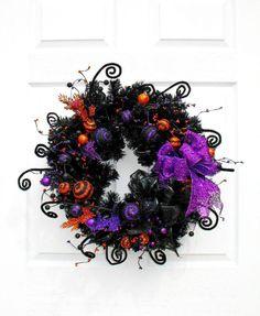Whimsical Halloween Wreath / Halloween Decor / Black Orange and Purple Wreath / by English Rose Designs Oh Halloween Door Wreaths, Holiday Wreaths, Holiday Fun, Halloween Decorations, Mesh Wreaths, Halloween Outside, Holidays Halloween, Halloween Crafts, Halloween Ideas