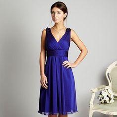 Bridesmaid Dresses Bright Blue Chiffon V-Neckline Sleeveless Floor-length Hemline (B D 000534)