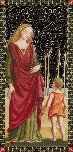 4 de bâtons - Golden Tarot of Renaissance par Giordano Berti & Jo Dworkin