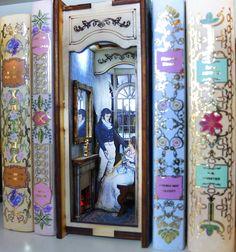 Pride and Prejudice Diorama Bookshelf Insert 9 Volt Battery, Diorama, Bookshelves, Rest Of The World, Pride And Prejudice, Fantasy World, Jane Austen, Sherlock Holmes, In My Feelings
