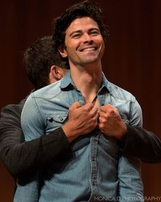 Misha is gonna rip Matt's shirt off at AHBL Guys Be Like, Cute Guys, Matt Cohen, Supernatural Actors, Jared And Jensen, Misha Collins, Destiel, Opening Ceremony, My Sunshine
