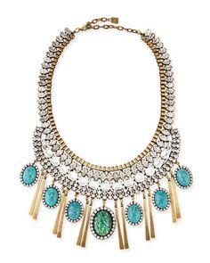 Y24ET Dannijo Costella Turquoise Statement Necklace