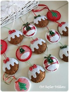 FREE wallpaper of these felt and fabric Christmas pudding ornaments.