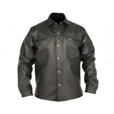 d694a8ad70dd Leather Rider Men s Handmade Black Leather Shirt