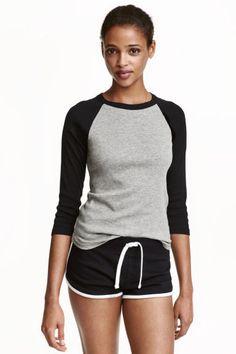 Baseball shirt: Baseball shirt in soft jersey with 3/4-length raglan sleeves in…
