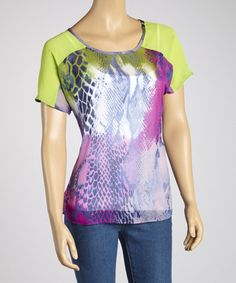 Take a look at this Blue Snakeskin Raglan Top by Figueroa & Flower on #zulily today!