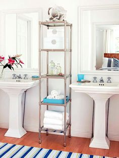 Our diy bathroom {creative storage solutions} + AOL real estate feature - Four Generations One Roof