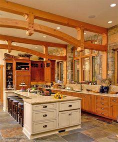 Mountain home kitchen. Timber Frame Design Interior