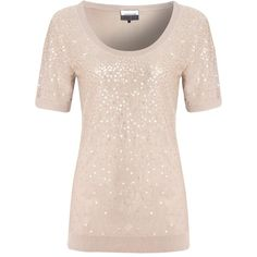 Jaeger Sequin Underpiece Top, Nude ($245) ❤ liked on Polyvore featuring tops, shirts, blusas, knitwear, magliette, pink sequin top, sequin sleeve top, pencil shirt, nude shirt and sleeve shirt