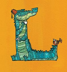 Creative Illustration, Create, Educational, Games, and Photos image ideas & inspiration on Designspiration Creative Illustration, Illustration Art, Crocodile Rock, Alphabet Art, Zen, Letters And Numbers, Illustrations, Moose Art, Character Design