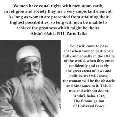 'Abdu'l-Bahá on the important role of women in the world - The Master Women