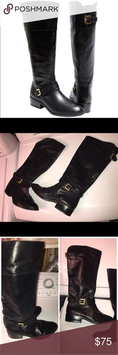 "Ralph Lauren Black Leather Riding Boots Sz 7.5 Be super chic for Autumn and Winter with these Lauren Ralph Lauren genuine leather riding boots. Gently used boots show minimal wear with clean soles and insides. Features a 1-1.5"" heel with side zip and buckle at back of calf for small adjusting; all 4 buckles say ""Lauren."" Heels have a few tiny scuffs that do not disturb the color. One back buckle is missing the tiny leather strap that it tucks into as shown in 4th pic. Not noticeable when…"