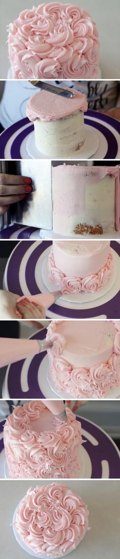How to Frost a Rose Cake - Cake Decorating Blue Ideen Cake Decorating Techniques, Cake Decorating Tutorials, Cookie Decorating, Decorating Cakes, Decorating Tools, Pretty Cakes, Beautiful Cakes, Amazing Cakes, Frosting Recipes