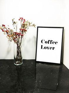 Coffee Lover #coffee #coffeelover #print #poster #interiordesign #prints #blackandwhite #typoprint #typographyprint Typography Prints, Lettering, Cheers, Print Poster, Glass Vase, Interiordesign, Alcohol, Wine, Coffee
