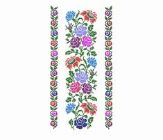 Set floral ornament for clothes. Neck and border patterns - Stickerei Ideen Cross Stitch Borders, Cross Stitch Designs, Cross Stitching, Cross Stitch Patterns, Cross Designs, Flower Embroidery Designs, Machine Embroidery Projects, Border Pattern, Satin Stitch