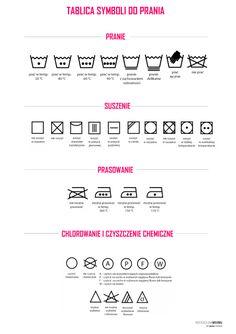 tablica symboli prania na Stylowi.pl Housekeeping, Cleaning Hacks, Life Hacks, Calendar, Organization, Blog, Bathroom, Bullet Journal, Posters