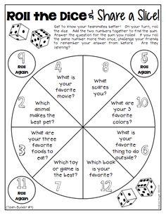 "This TEAMBUILDING activity from ""Dice Discussions"" is perfect for back-to-school…"