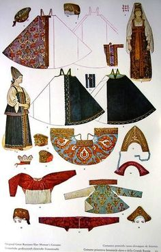 Russian Traditional Dress, Traditional Dresses, Russian Folk, Russian Art, Historical Costume, Historical Clothing, Costume Russe, Paper Dolls, Art Dolls