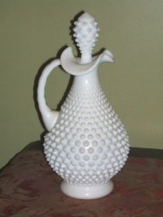 antique fenton milk glass | VINTAGE FENTON MILK GLASS HOBNAIL WINE DECANTER BOTTLE Completed