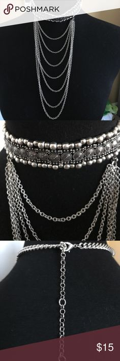 Bib Chocker Necklace Round etched ornate draped bib chain chocker necklace.  NWOT never worn!! Jewelry Necklaces
