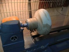 Turning a Hickory bowl on a glue block. @ Ansbach Artisans