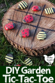 DIY a tic-tac-toe game board for fun indoors or in the garden. Turn river rocks into lady bugs and bumble bees for a battle of the bugs on a wooden stump or slice for hours of fun #gardenDIY #DIYgame #tictactoe #paintedrocks