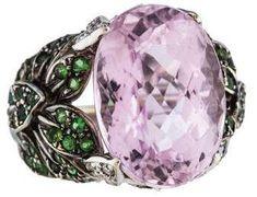 18K Kunzite, Tsavorite & Diamond Cocktail Ring #cosmiclovegems #affiliate #lithium #mothersday