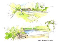 Pool Garden Illustrations by Acres Wild